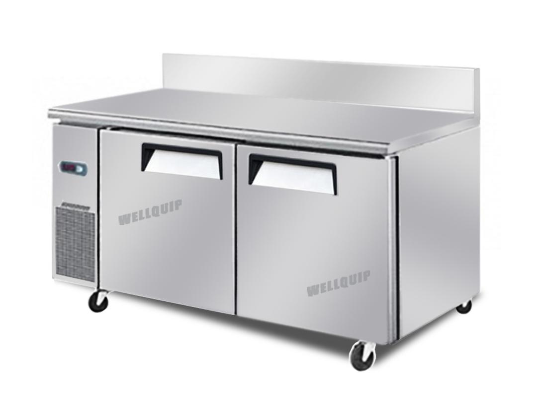 2 door commercial kitchen working bench freezer with
